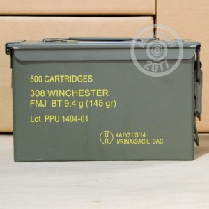 Picture of .308 PRVI PARTIZAN 145 GRAIN FMJBT IN AMMO CAN (500 ROUNDS)