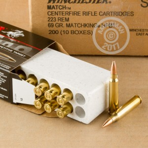 Image of 223 Remington ammo by Winchester that's ideal for precision shooting.