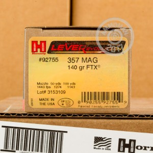 Picture of 357 MAGNUM HORNADY LEVEREVOLUTION 140 GRAIN JHP FTX (25 ROUNDS)
