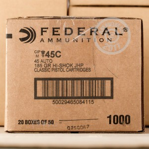 Picture of .45 ACP FEDERAL HI-SHOK 185 GRAIN JHP (50 ROUNDS)