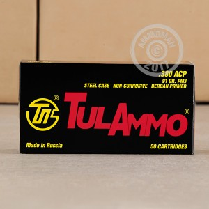 A photograph detailing the .380 Auto ammo with FMJ bullets made by Tula Cartridge Works.