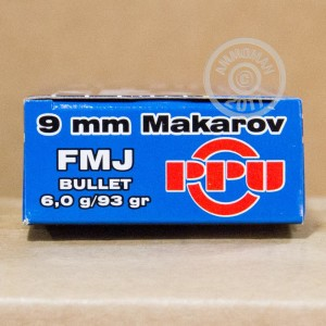 Picture of 9MM MAKAROV PRVI PARTIZAN 93 GRAIN FMJ (1000 ROUNDS)