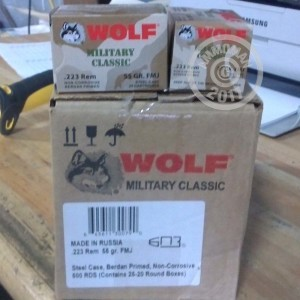 Picture of 223 REMINGTON WOLF WPA MILITARY CLASSIC 55 GRAIN FMJ (500 ROUNDS)