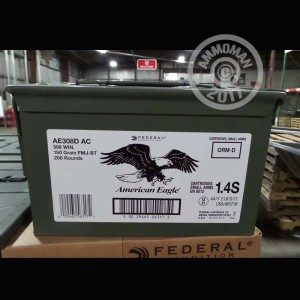 Picture of 308 WIN FEDERAL AMERICAN EAGLE AMMO CAN 150 GRAIN FMJ-BT (200 ROUNDS)