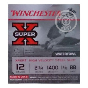 """Picture of 12 GAUGE WINCHESTER SUPER-X 2 3/4"""" 1 1/8 OZ BB STEEL SHOT GAME LOAD (25 ROUNDS)"""