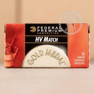 Picture of 22 LR FEDERAL GOLD MEDAL HIGH VELOCITY MATCH 40 GRAIN SOLID POINT (50 ROUNDS)