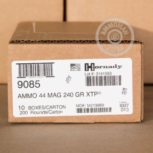 Image of 44 Remington Magnum ammo by Hornady that's ideal for home protection.