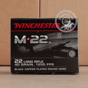 Picture of 22 LR - 40 Grain Black Copper Plated Round Nose - Winchester M22 - 500 Rounds
