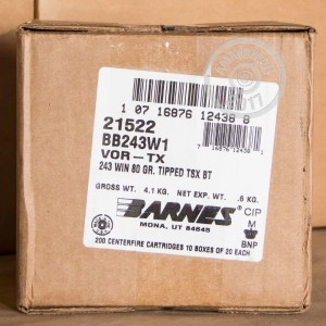 Picture of 243 WIN BARNES VOR-TX 80 GRAIN TSX (20 ROUNDS)
