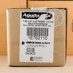 Picture of 7.62 NATO AGUILA 150 GRAIN FMJ-BT (20 ROUNDS)