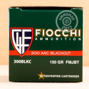 A photograph of 50 rounds of 150 grain 300 AAC Blackout ammo with a FMJ-BT bullet for sale.