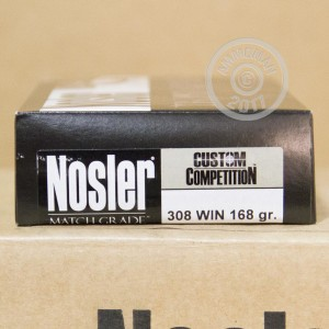 Picture of .308 WINCHESTER NOSLER MATCH GRADE 168 GRAIN HPBT (20 ROUNDS)