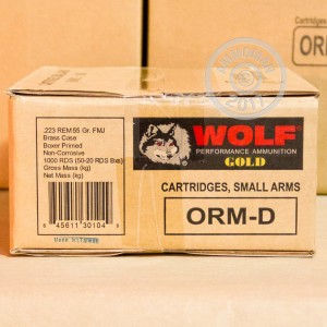 An image of 223 Remington ammo made by Wolf at AmmoMan.com.