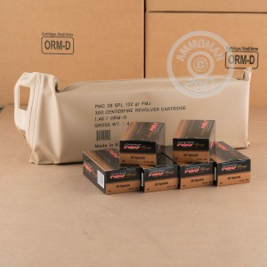 A photograph of 300 rounds of 132 grain 38 Special ammo with a FMJ bullet for sale.