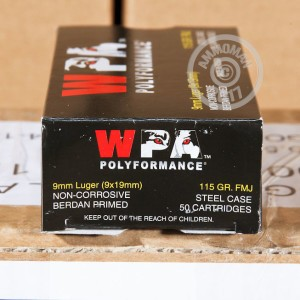 Picture of 9MM LUGER WOLF WPA 115 GRAIN FMJ (500 ROUNDS)