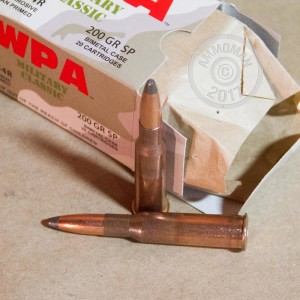 A photograph detailing the 7.62 x 54R ammo with soft point bullets made by Wolf.