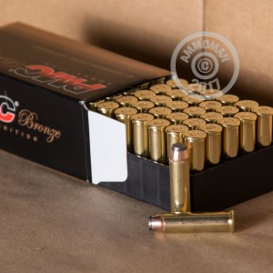 A photo of a box of PMC ammo in 357 Magnum.