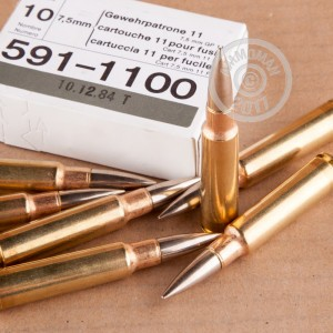 Picture of 7.5X55 SWISS RUAG 174 GRAIN FMJ (10 ROUNDS)