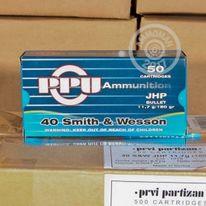 A photograph detailing the .40 Smith & Wesson ammo with JHP bullets made by Prvi Partizan.
