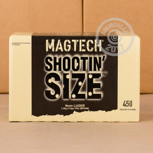 Image of Magtech 9mm Luger pistol ammunition.