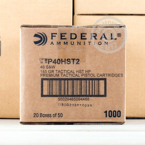 Picture of 40 S&W FEDERAL PREMIUM LAW ENFORCEMENT 155 GRAIN HST HP (1000 ROUNDS)
