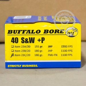Picture of 40 S&W +P BUFFALO BORE 180 GRAIN FMJ-FN (20 ROUNDS)