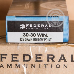 A photo of a box of Federal ammo in 30-30 Winchester.