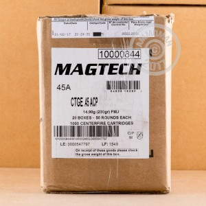 Picture of 45 ACP MAGTECH 230 GRAIN METAL CASE #45A (1000 ROUNDS)