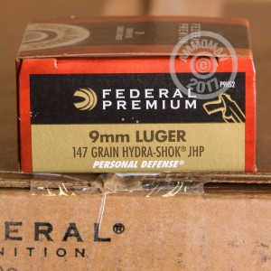 Picture of 9MM FEDERAL PREMIUM 147 GRAIN HYDRA-SHOK JACKETED HOLLOW POINTS (20 ROUNDS)