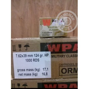 Picture of 7.62x39MM WOLF WPA MILITARY CLASSIC 124 GRAIN HOLLOW POINT (1000 ROUNDS)
