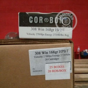 Picture of 308 WIN CORBON MATCH 168 GRAIN HPBT (20 ROUNDS)