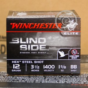 "Picture of 12 GAUGE WINCHESTER ELITE BLIND SIDE WATERFOWL 3-1/2"" 1-5/8 OZ. BB HEX STEEL SHOT (250 ROUNDS)"
