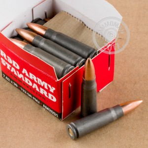 A photograph of 20 rounds of 122 grain 7.62 x 39 ammo with a FMJ bullet for sale.