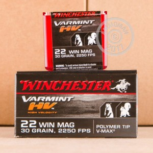 Picture of 22 MAGNUM WINCHESTER VARMINT HIGH VELOCITY 30 GRAIN V-MAX (50 ROUNDS)