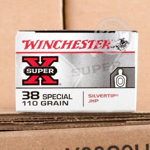 Picture of 38 SPECIAL WINCHESTER SUPER-X 110 GRAIN SILVERTIP JHP (50 ROUNDS)