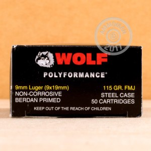 Picture of 9MM LUGER WOLF POLYFORMANCE 115 GRAIN FMJ (50 ROUNDS)
