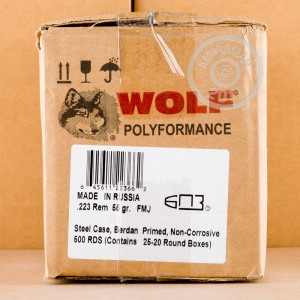 Picture of Wolf 223 Remington Ammunition - 20 Rounds of 55 Grain FMJ