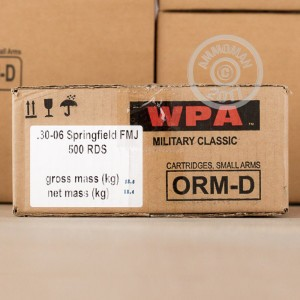 A photograph of 500 rounds of 168 grain 30.06 Springfield ammo with a FMJ bullet for sale.