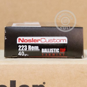 Picture of 223 REMINGTON NOSLER TROPHY GRADE VARMINT 40 GRAIN GRAIN BT (20 ROUNDS)