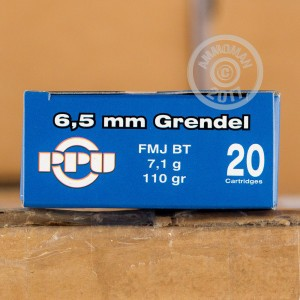 Picture of 6.5 GRENDEL PRVI PARTIZAN 110 GRAIN FMJ-BT (20 ROUNDS)