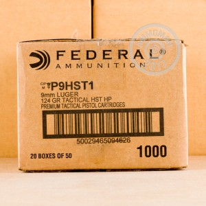 Picture of  9MM LUGER FEDERAL PREMIUM LAW ENFORCEMENT 124 GRAIN HST JHP (1000 ROUNDS)