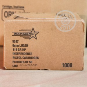 Picture of 9MM LUGER INDEPENDENCE 115 GRAIN JHP (50 ROUNDS)