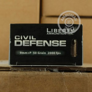 Picture of 9MM LUGER +P LIBERTY CIVIL DEFENSE 50 GRAIN SCHP (20 ROUNDS)