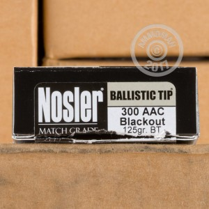 Picture of 300 AAC BLACKOUT NOSLER MATCH GRADE 125 GRAIN BALLISTIC TIP (20 ROUNDS)