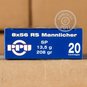 Picture of 8X56 RS MANNLICHER PRVI PARTIZAN 208 GRAIN SOFT POINT #PP8.4 (500 ROUNDS)