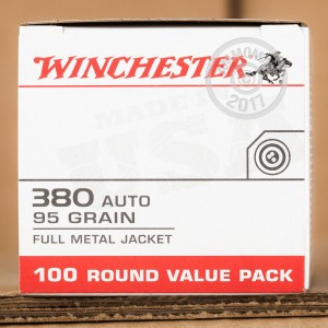 Picture of 380 ACP WINCHESTER VALUE PACK 95 GRAIN FMJ (500 ROUNDS)