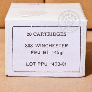 Picture of 308 PRVI PARTIZAN 145 GRAIN FULL METAL JACKET (500 ROUNDS)
