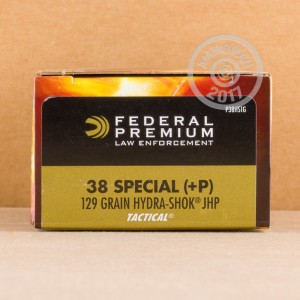 Picture of .38 SPECIAL FEDERAL HYDRA-SHOK 129 GRAIN +P LE (1000 ROUNDS)
