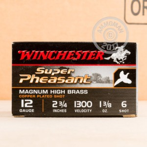 Great ammo for hunting pheasant, upland bird hunting, these Winchester rounds are for sale now at AmmoMan.com.