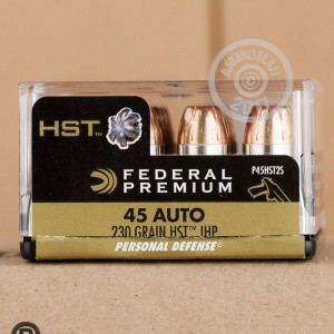Image of .45 Automatic ammo by Federal that's ideal for home protection.